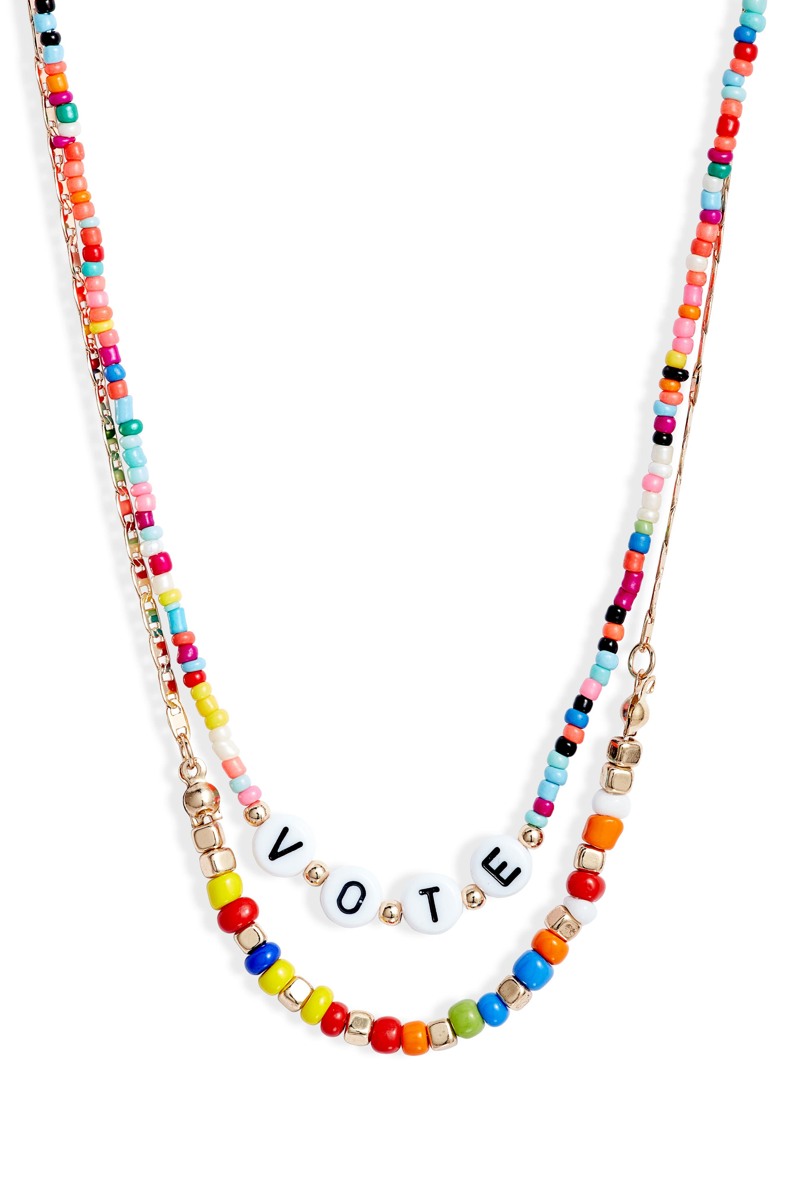 A colorful reminder to make your voice heard, this layered, mixed-media necklace is a splash of fun with a purpose. Style Name: Bp. Vote Layered Necklace. Style Number: 6097996. Available in stores.