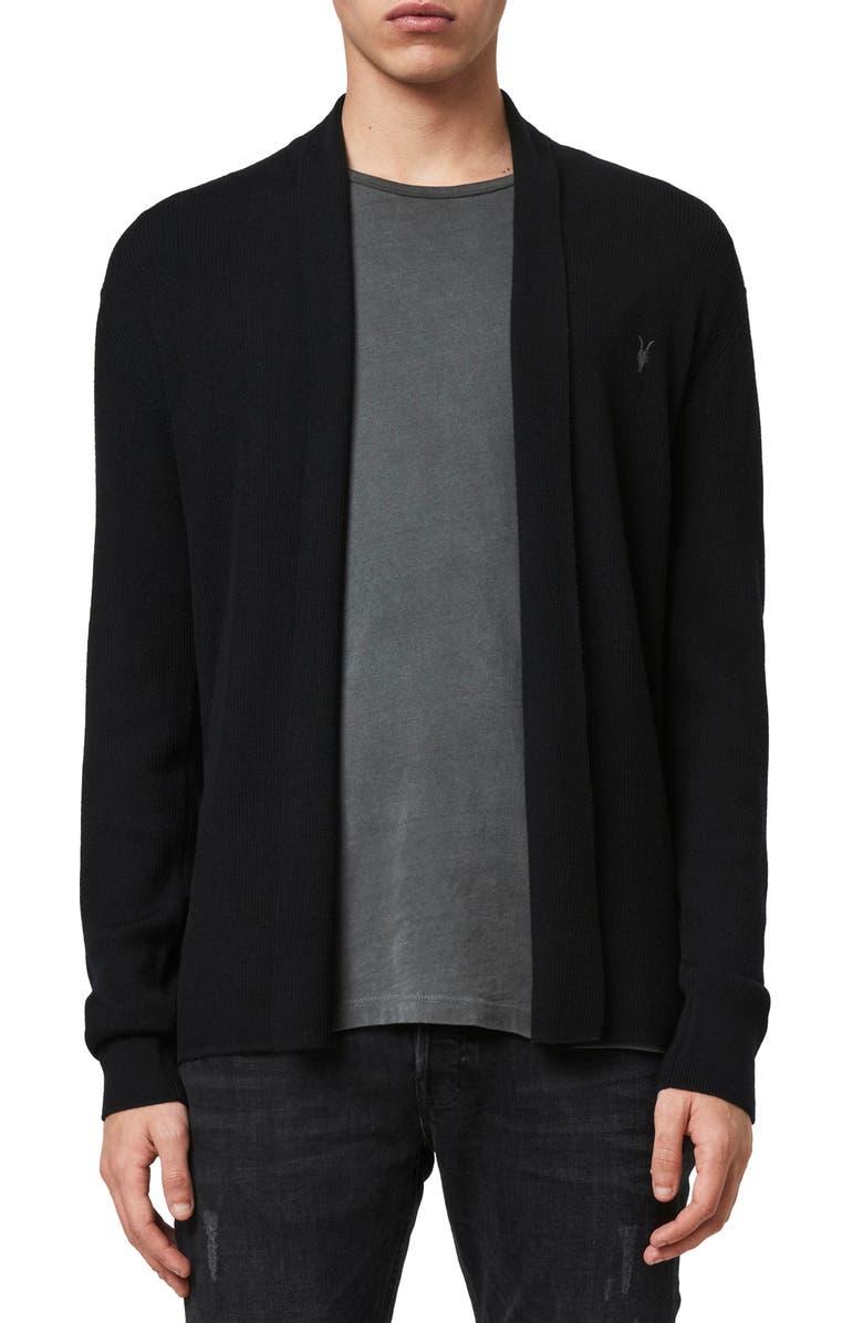 ALLSAINTS Mode Slim Fit Wool Cardigan, Main, color, 001