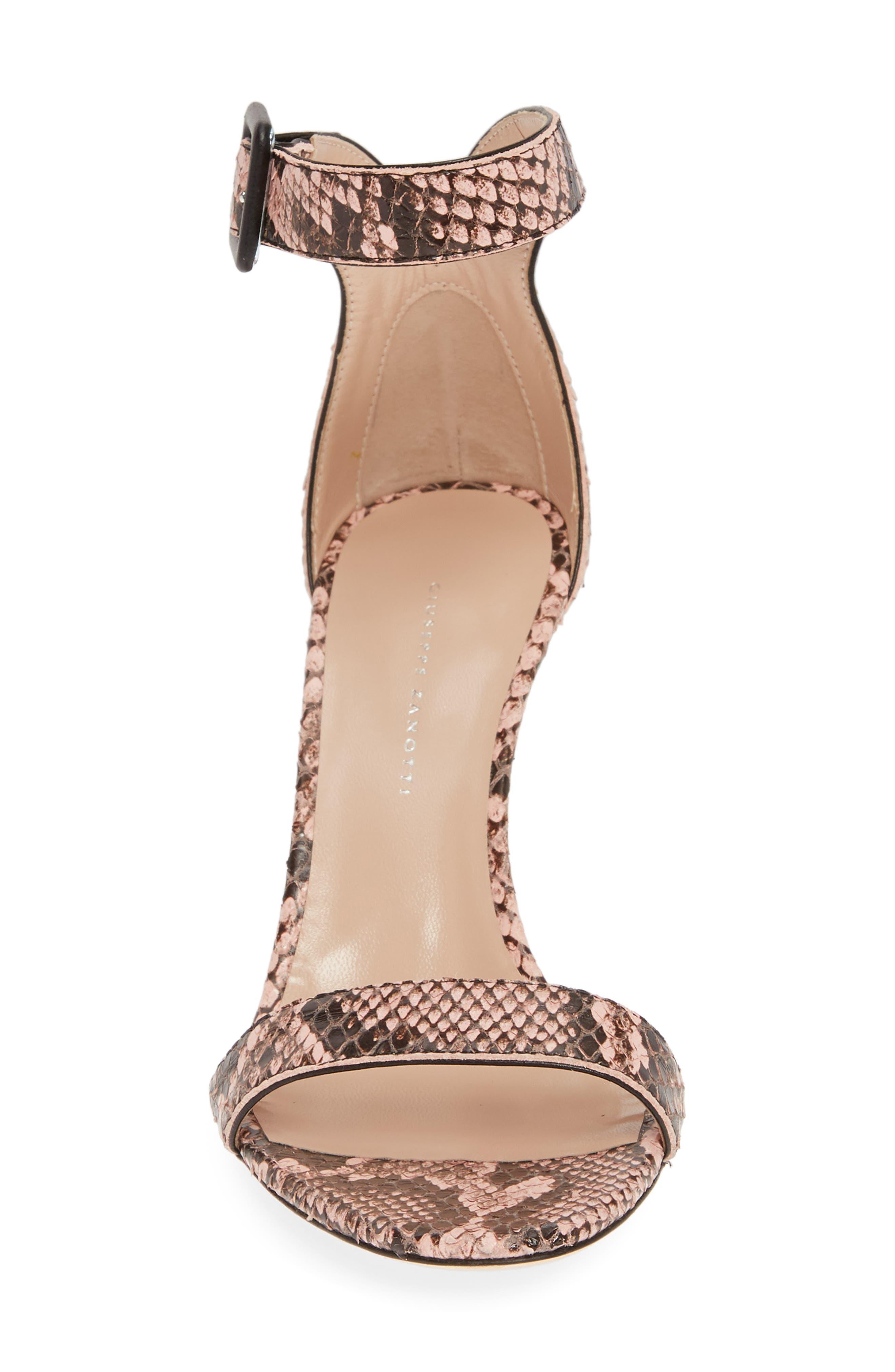 ,                             Snake Embossed Ankle Strap Sandal,                             Alternate thumbnail 4, color,                             PINK SNAKEPRINT
