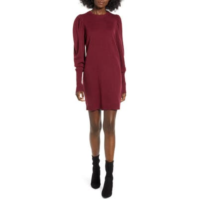Wayf X Influencers San Francisco Puff Sleeve Sweater Dress, Burgundy (Nordstrom Exclusive)