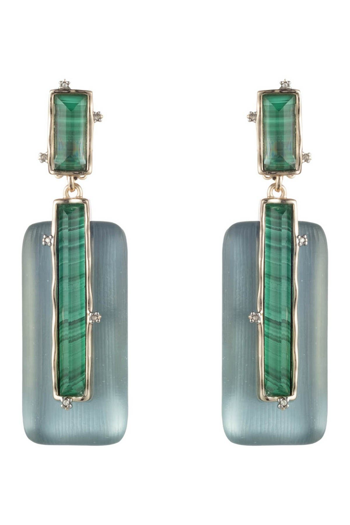 Image of Alexis Bittar 10K Gold Plated Stone Retro Drop Clip-On Earrings