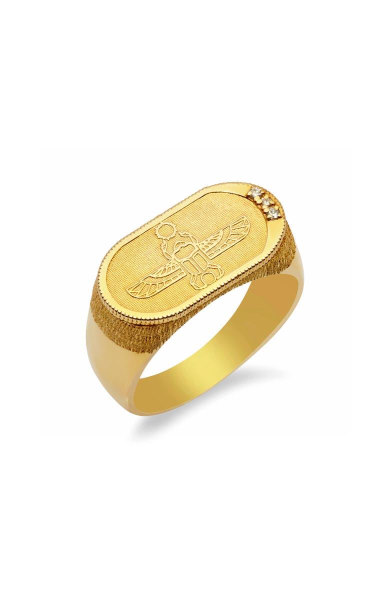 CONGÉS Old School White Diamond Scarab Ring, Main, color, YELLOW GOLD