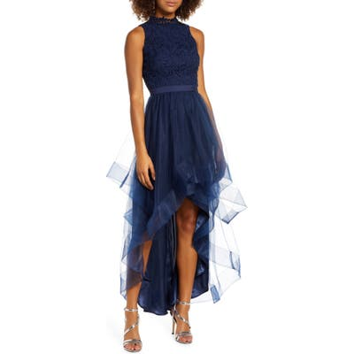 Chi Chi London Thaiza High/low Embroidery & Tulle Evening Gown, Blue