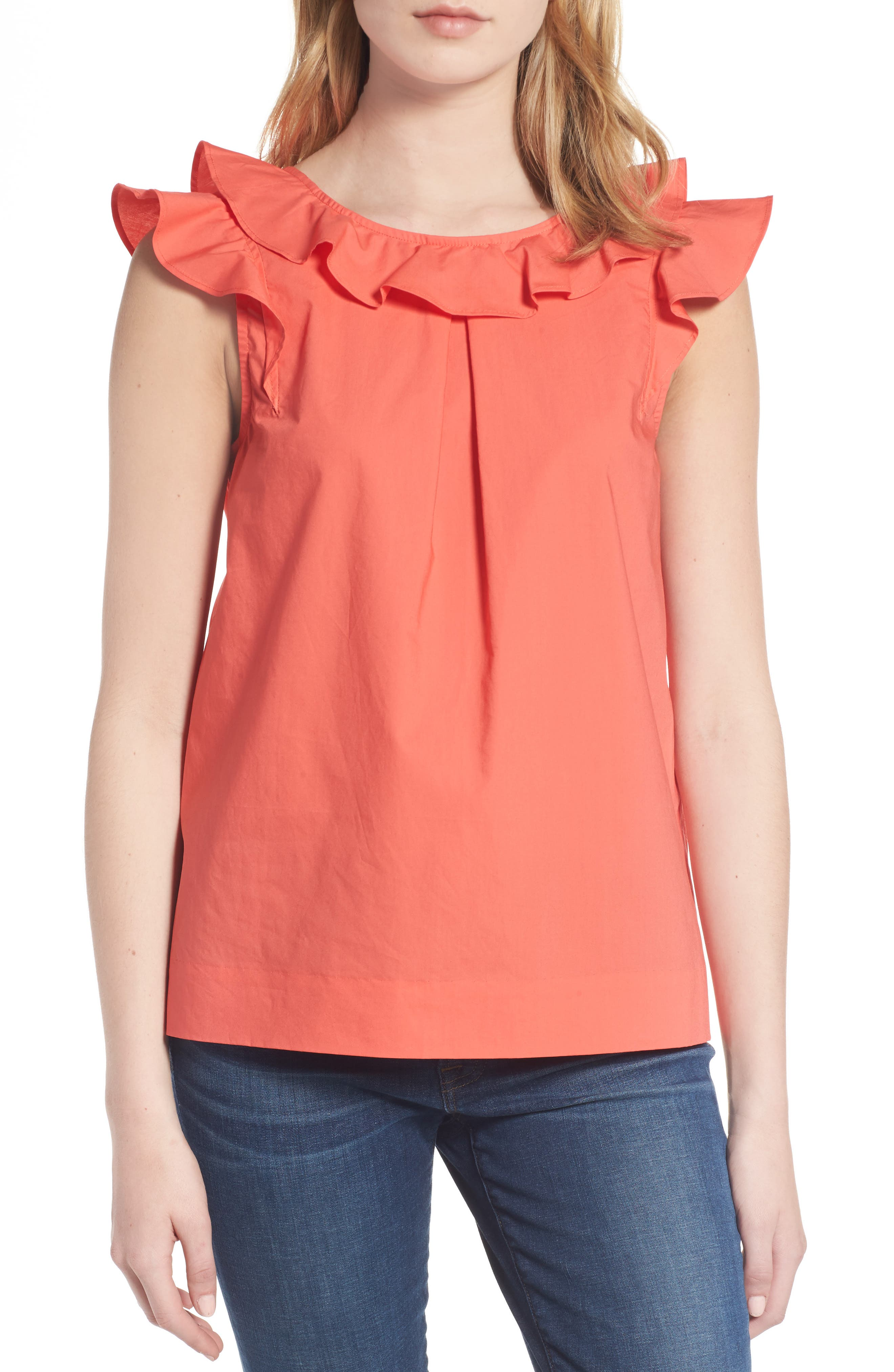 ,                             Ruffle Cotton Poplin Top,                             Main thumbnail 12, color,                             950