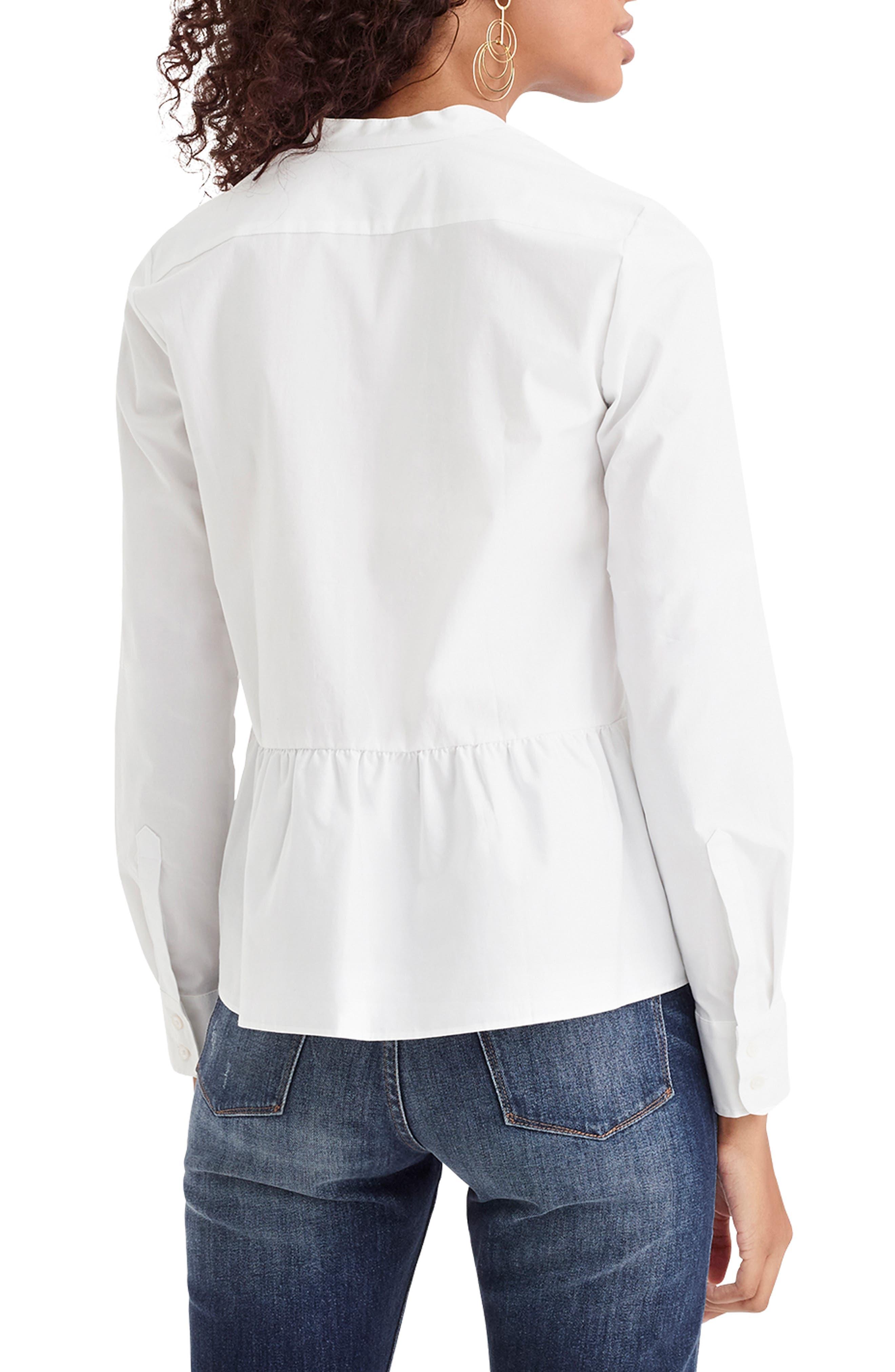 ,                             Stretch Button-Up Peplum Shirt,                             Alternate thumbnail 2, color,                             WHITE