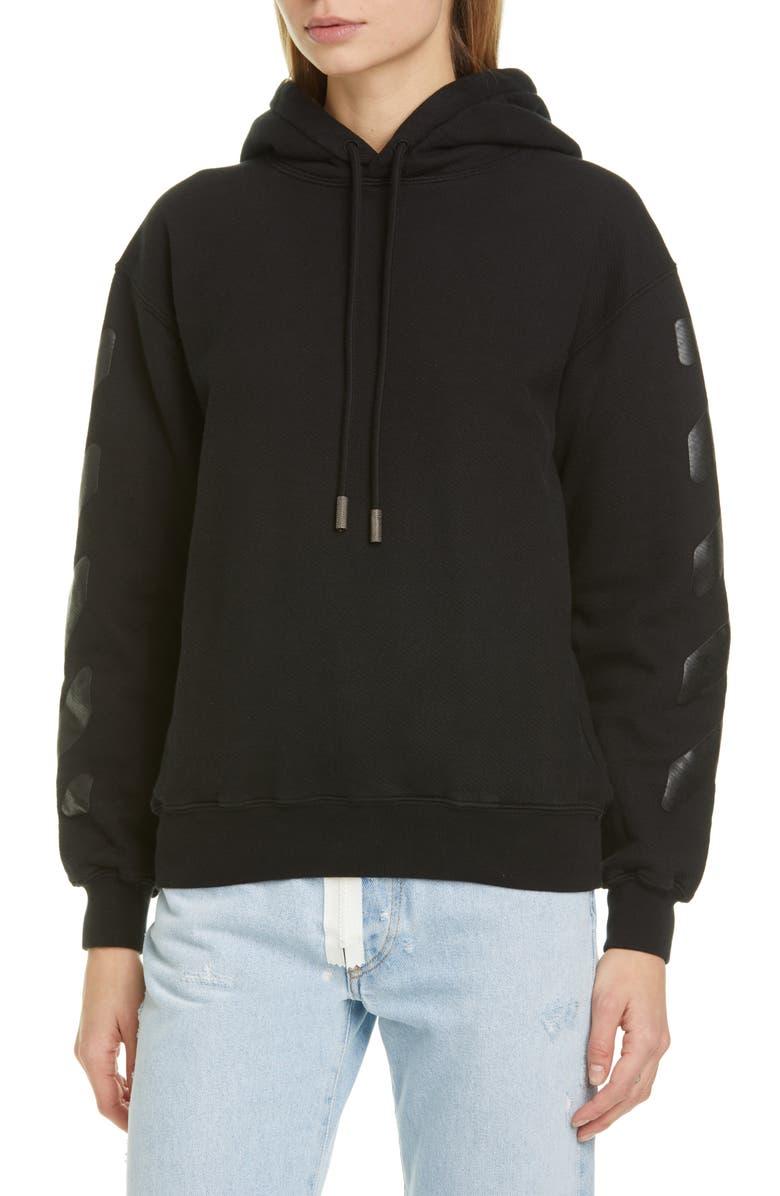 OFF-WHITE Diagonal Cotton Hoodie, Main, color, BLACK BLACK