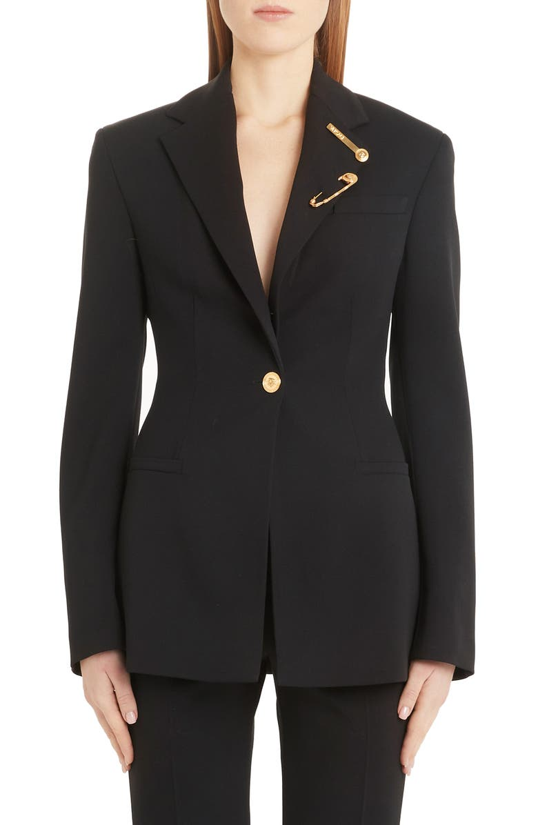 VERSACE Safety Pin Detail Stretch Wool Blazer, Main, color, BLACK