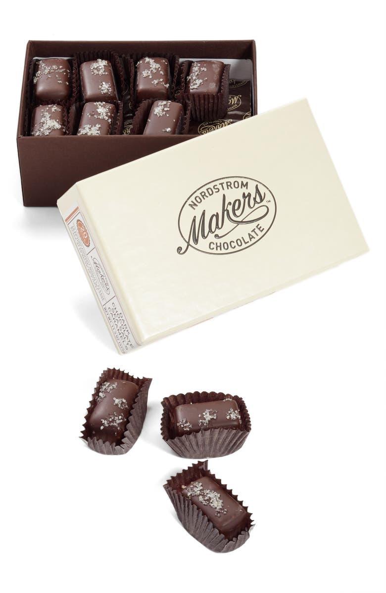 NORDSTROM MAKERS CHOCOLATE Dark Chocolate Sea Salt Caramels, Main, color, BROWN