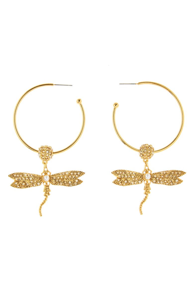 OSCAR DE LA RENTA Pavé Dragonfly Hoop Earrings, Main, color, CRY GOLD SHADOW