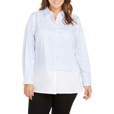 Plus Size Foxcroft Giselle Layered Look Stripe Shirt, Blue