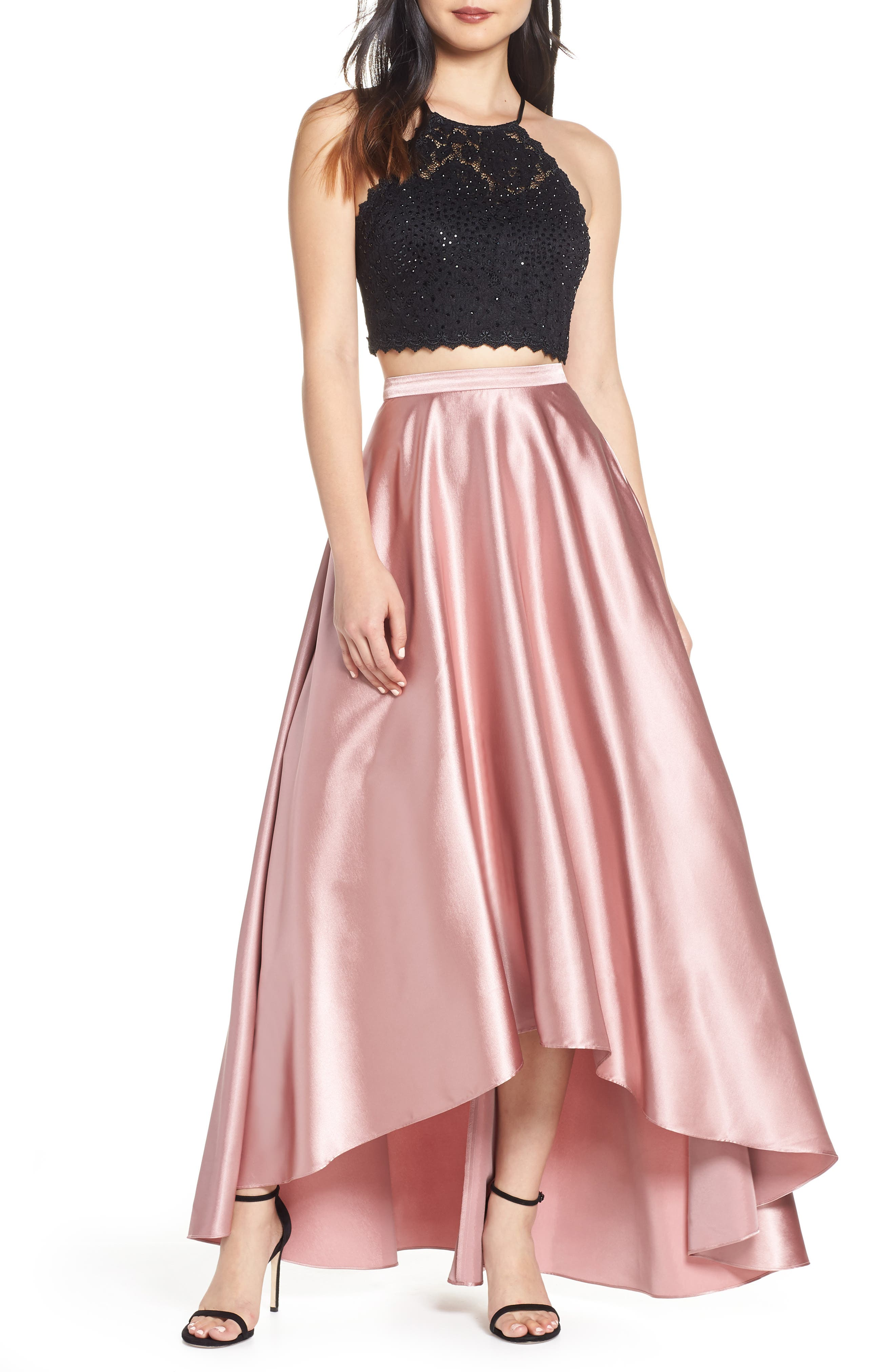 ,                             Glitter Lace & Satin High/Low Two-Piece Evening Dress,                             Main thumbnail 1, color,                             ROSE/ BLACK