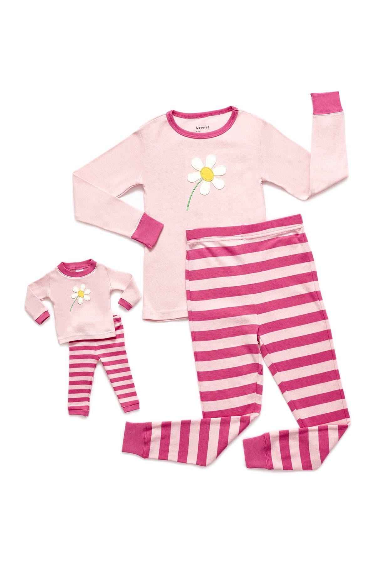 Image of Leveret Flower Pajama & Matching Doll Pajama Set