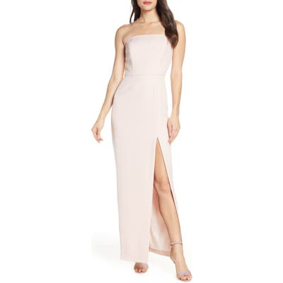 Wayf The Mila Strapless Slit Column Gown, Pink