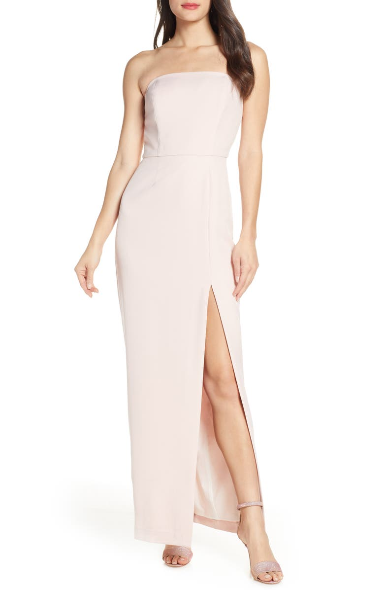 WAYF The Mila Strapless Slit Column Gown, Main, color, NUDE ROSE