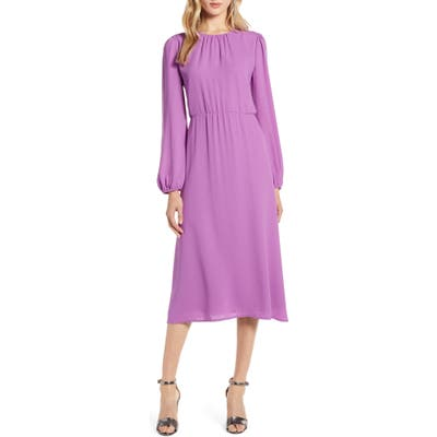 Petite Halogen Long Sleeve Dress, Purple
