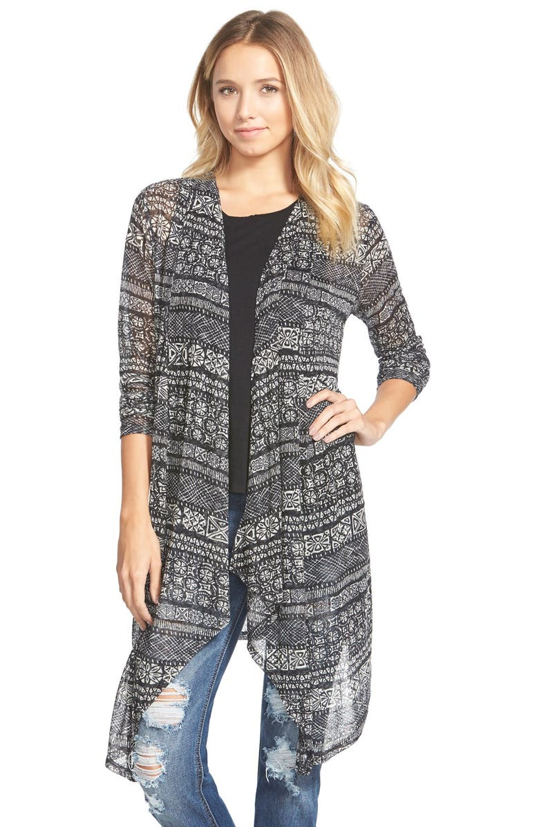 PAINTED THREADS Stripe Open Front Cardigan, Main, color, 001