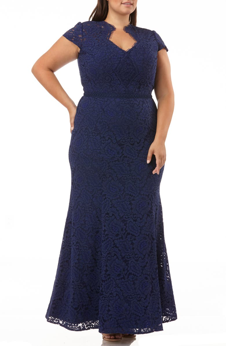 JS COLLECTIONS Panel Scalloped Lace Gown, Main, color, NAVY