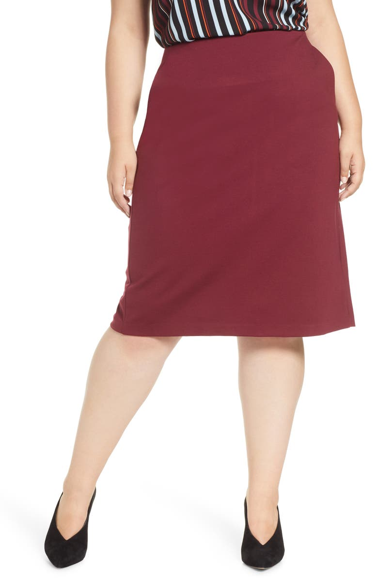 HALOGEN<SUP>®</SUP> Knit Midi Skirt, Main, color, BURGUNDY FIELD