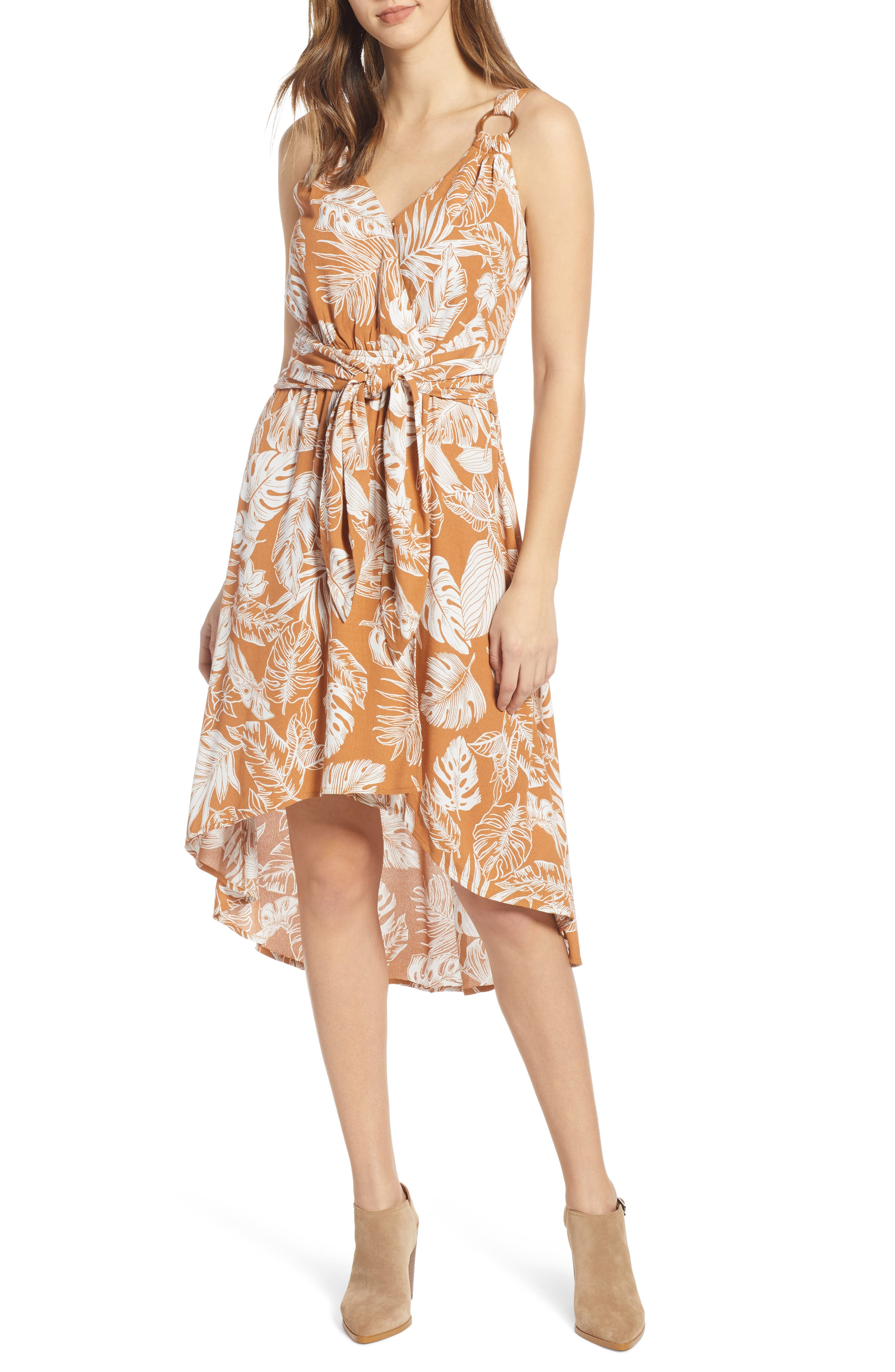 Moon River Palm Print High/low Dress, Yellow