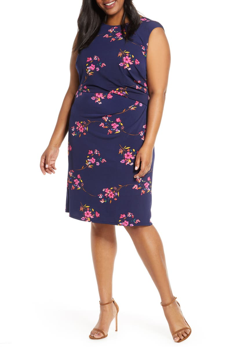 ELIZA J Floral Ruched Sleeveless Sheath Dress, Main, color, NAVY