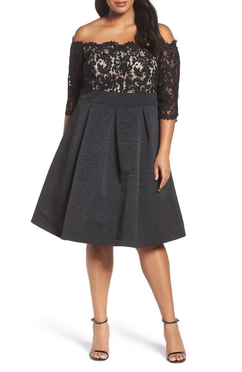 ELIZA J Off the Shoulder Fit & Flare Cocktail Dress, Main, color, 001