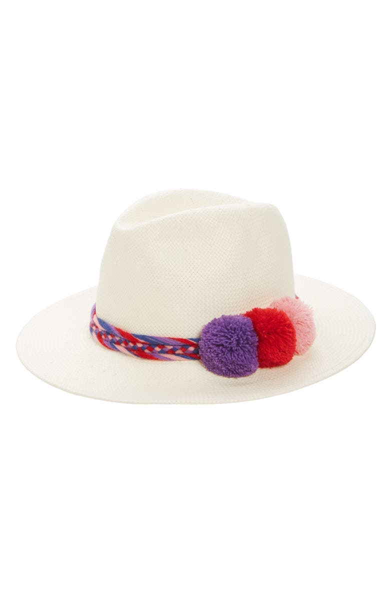 SOLE SOCIETY Pompom Straw Panama Hat, Main, color, 110