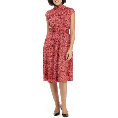 Maggy London Floral Roll Neck A-Line Dress, Red