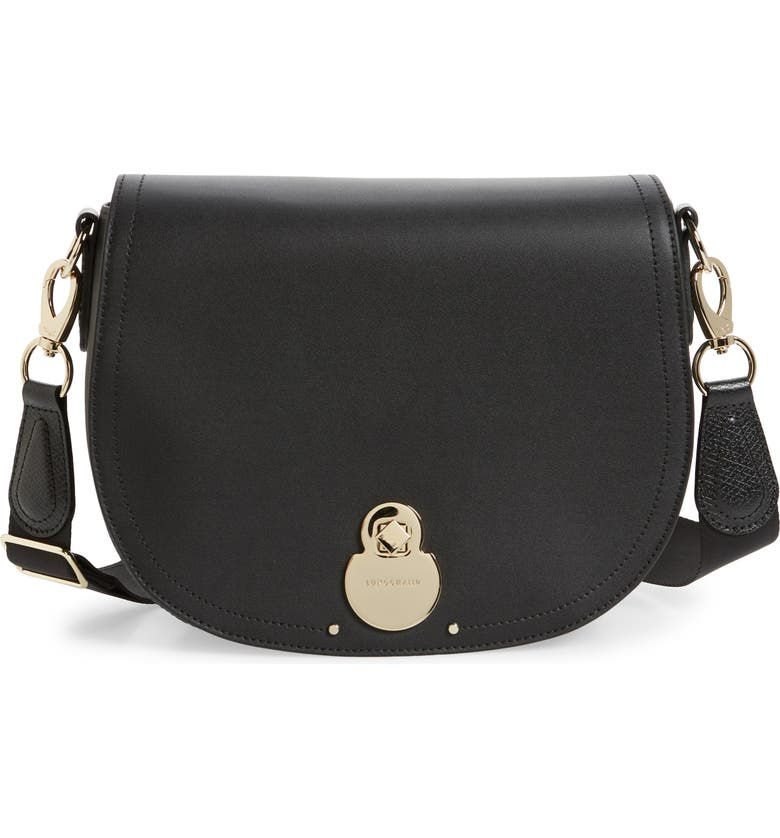 LONGCHAMP Medium Cavalcade Leather Crossbody Bag, Main, color, BLACK