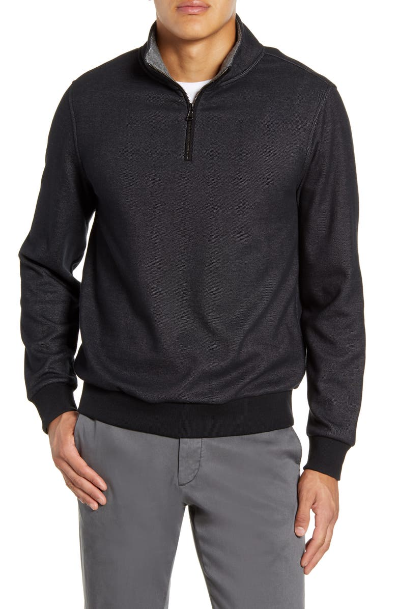 ZACHARY PRELL Braemore Fleece Lined Quarter Zip Pullover, Main, color, BLACK