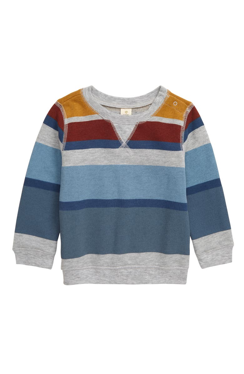 TUCKER + TATE B.Y.O. Fleece Sweatshirt, Main, color, GREY ASH HEATHER MULTI STRIPE