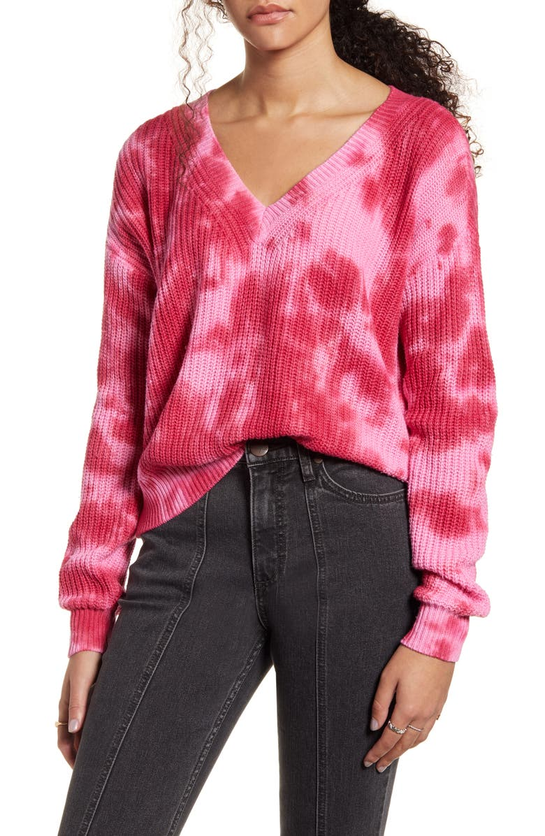 HIATUS Tie Dye V-Neck Sweater, Main, color, PINK