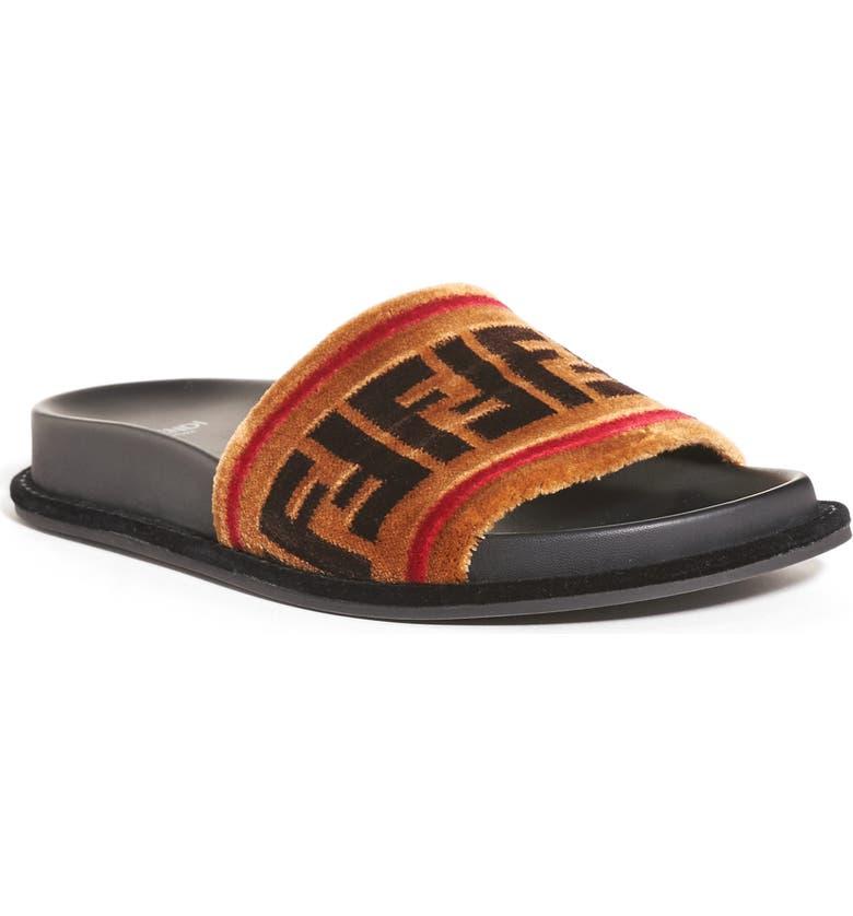 FENDI Logo Slide Sandal, Main, color, 250