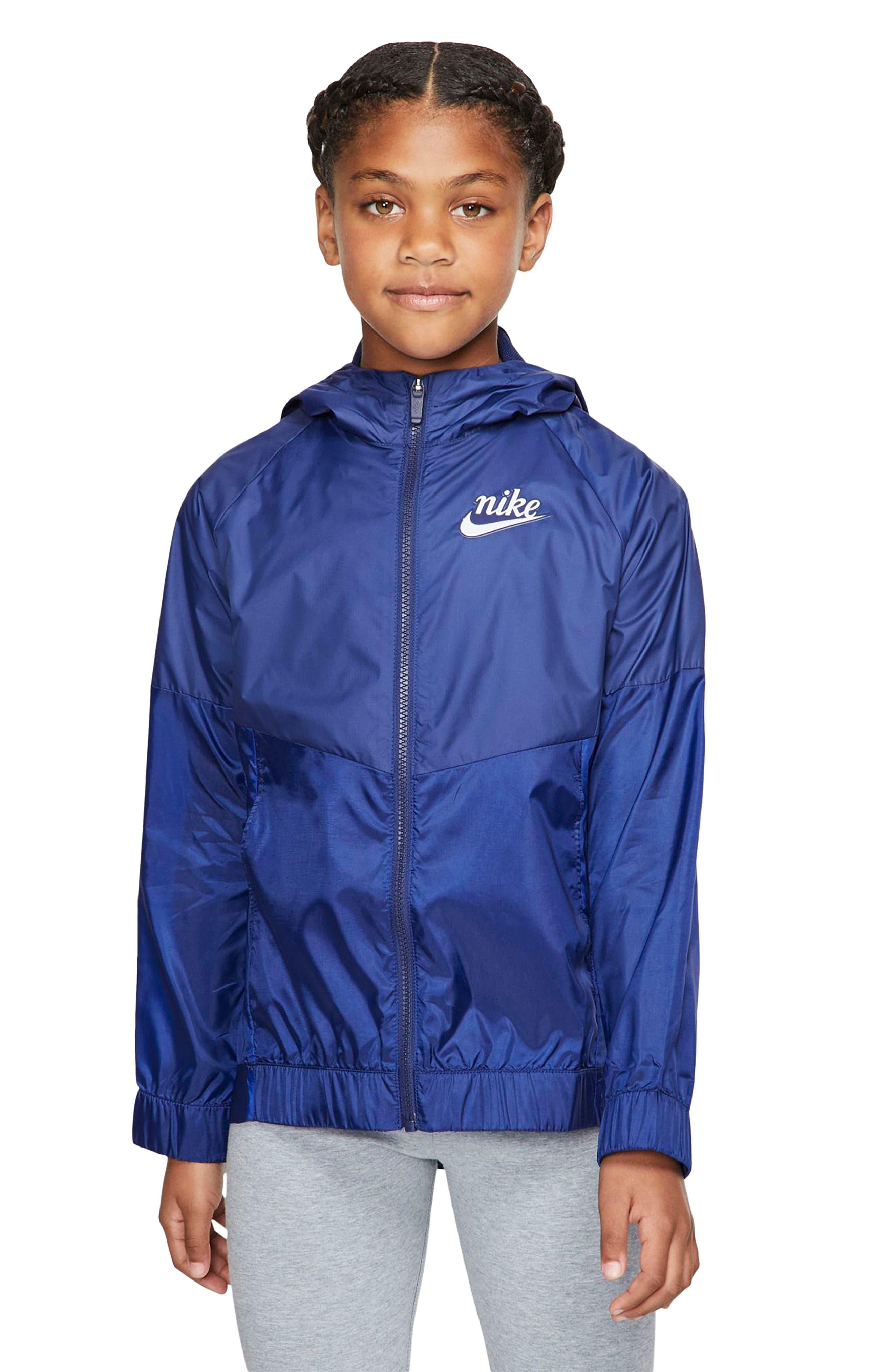 Girls Nike Windrunner Hooded Zip Jacket Size L (14)  Blue