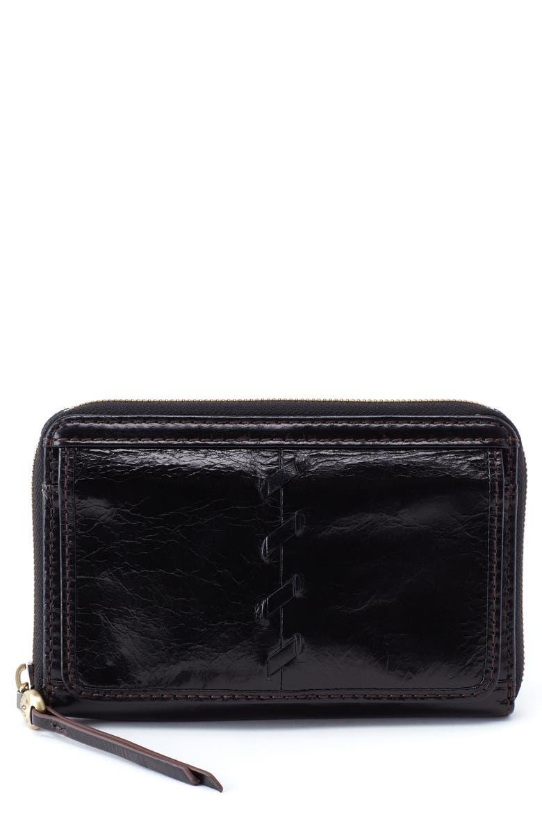 HOBO Elm Leather Wallet, Main, color, BLACK