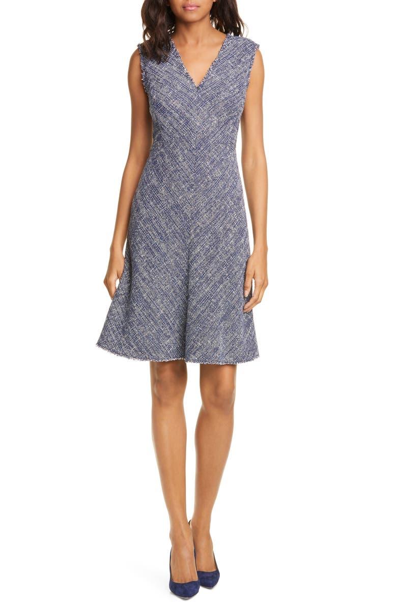 REBECCA TAYLOR Sleeveless Tweed Dress, Main, color, NAVY COMBO