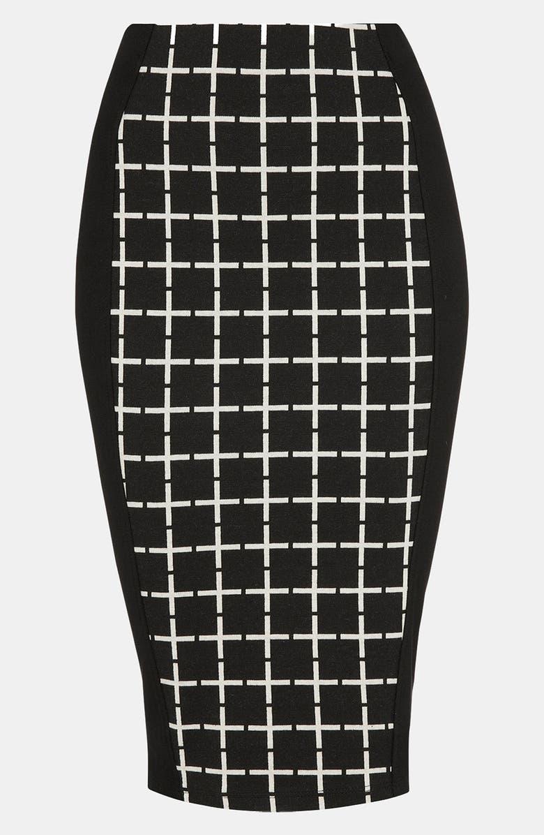 TOPSHOP Grid Print Panel Midi Skirt, Main, color, 001