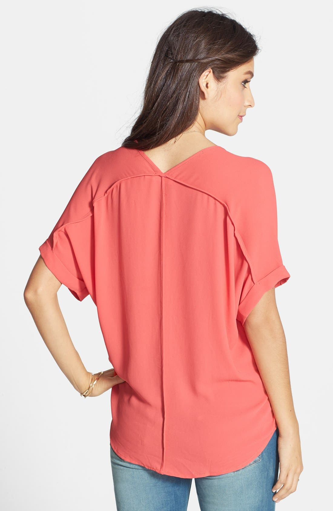 ,                             Lush Cuff Sleeve Woven Tee,                             Alternate thumbnail 206, color,                             950