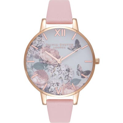 Olivia Burton Signature Florals Leather Strap Watch,