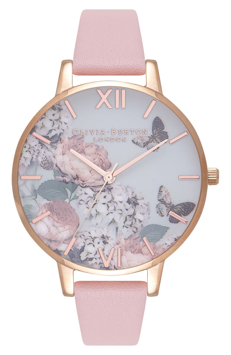 OLIVIA BURTON Signature Florals Leather Strap Watch, 38mm, Main, color, DUSTY PINK/ GREY/ ROSE GOLD