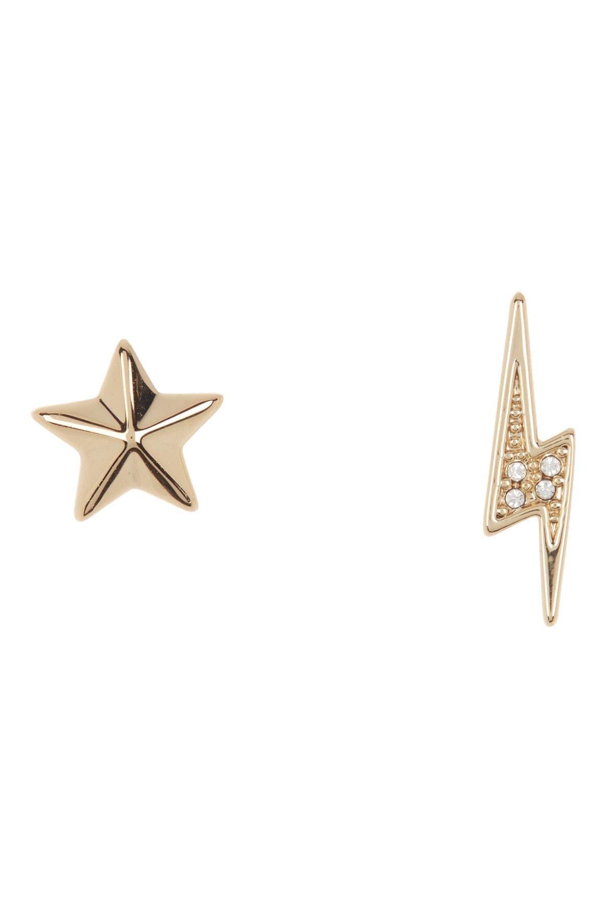 Image of Rebecca Minkoff Mismatched Star & Lightning Bolt Stud Earrings