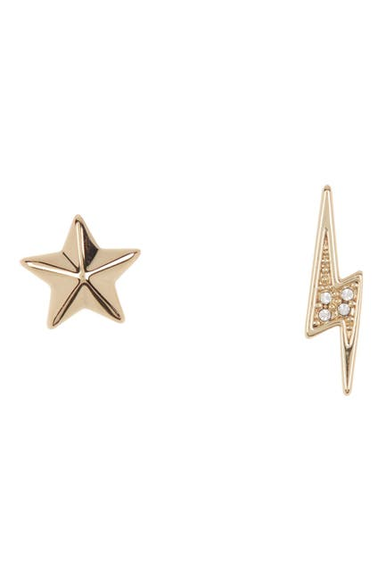 Image of Rebecca Minkoff Mismatched Star & Lightning Bolt Stud Earrings