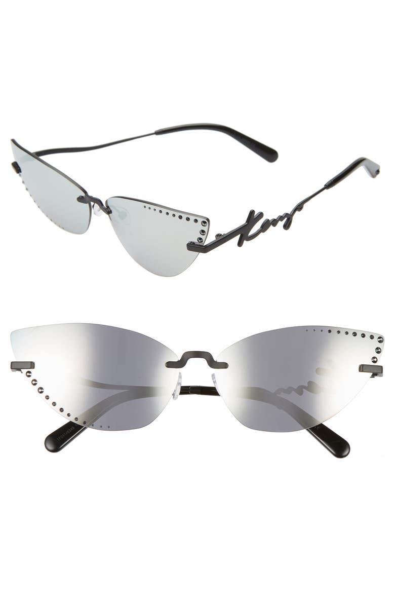 KENZO 67mm Oversize Aviator Sunglasses, Main, color, MATTE BLACK/ SMOKE