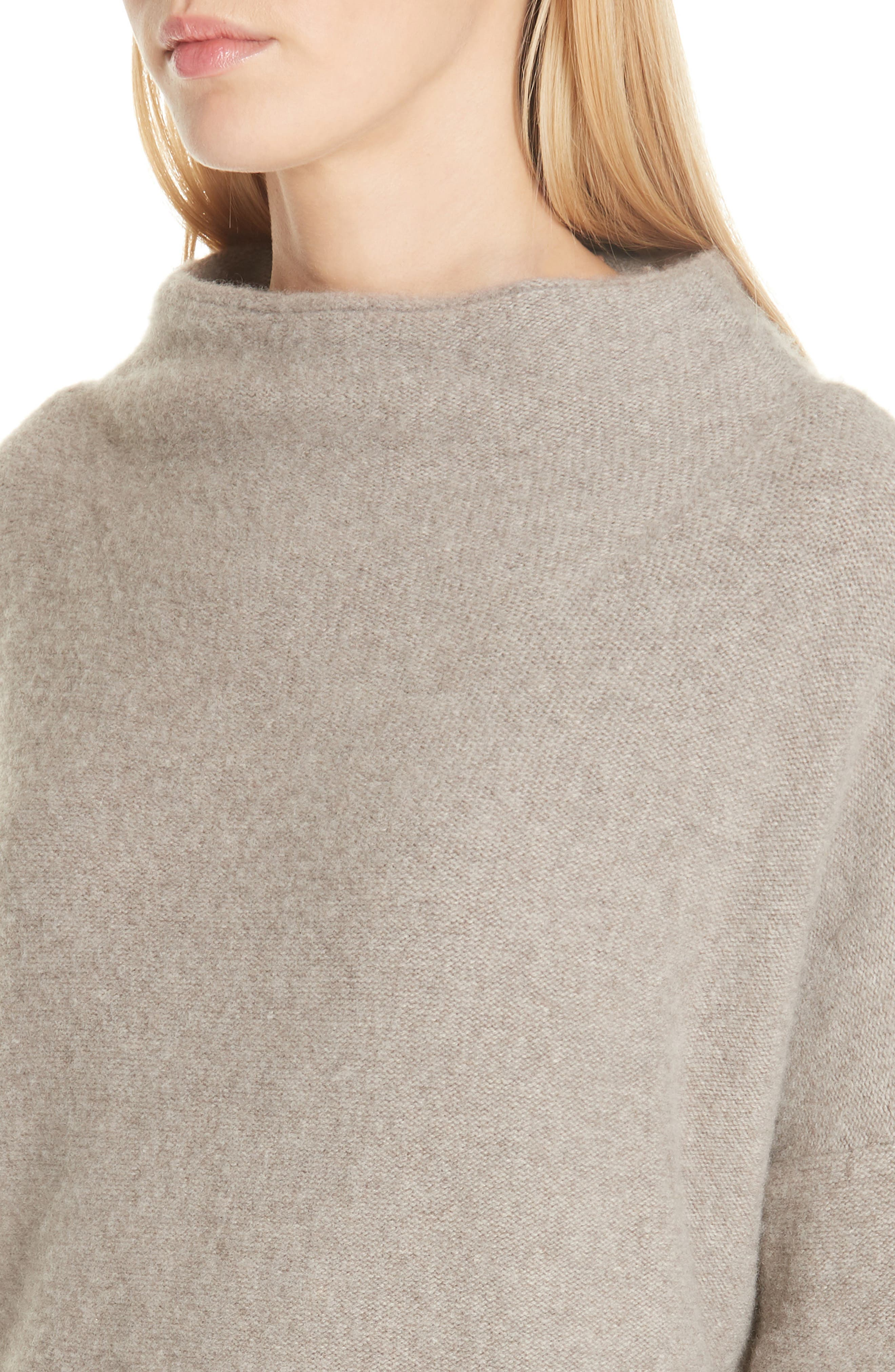 ,                             Funnel Neck Cashmere Sweater,                             Alternate thumbnail 4, color,                             201
