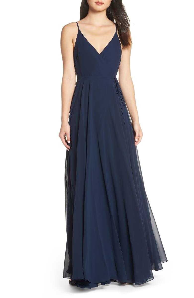 JENNY YOO James Sleeveless Wrap Chiffon Evening Dress, Main, color, 410