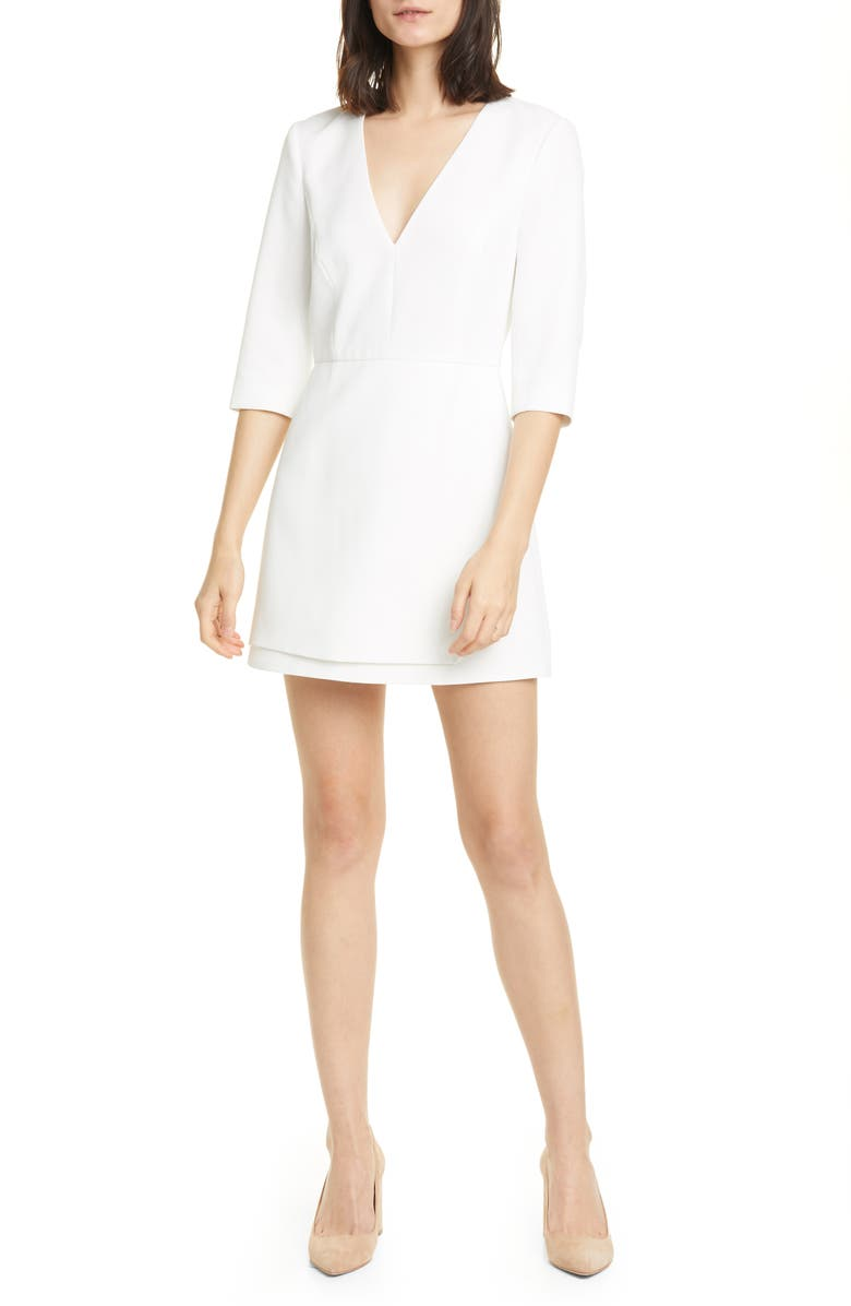 ALICE + OLIVIA Stevie Double Layer Minidress, Main, color, OFF WHITE