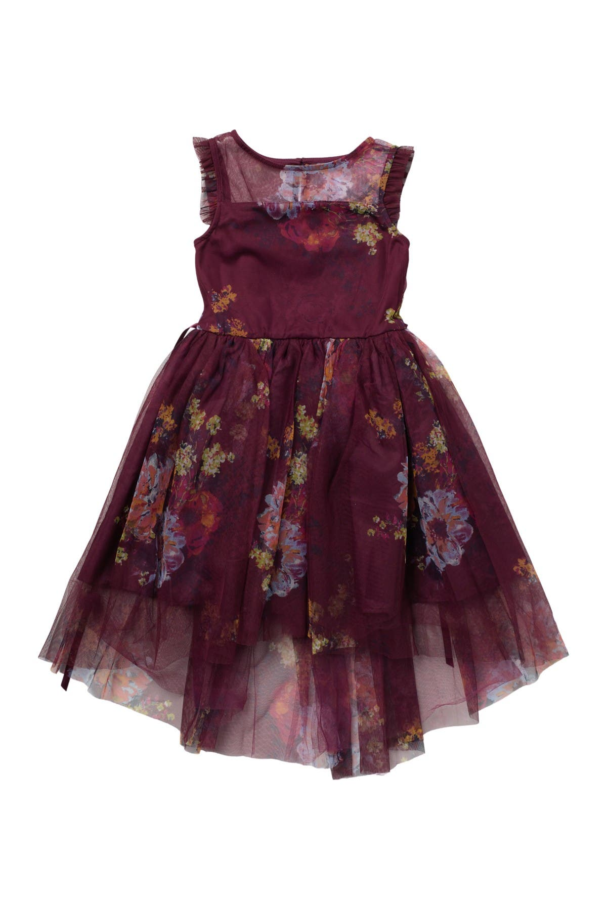 Image of Zunie Floral Mesh Illusion Dress