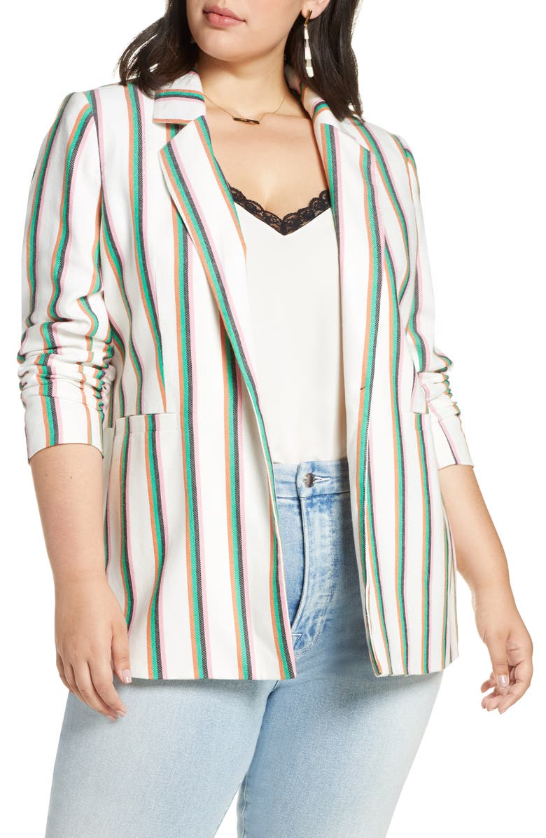 HALOGEN<SUP>®</SUP> Ruched Sleeve Stripe Blazer, Main, color, WHITE MULTI STRIPE