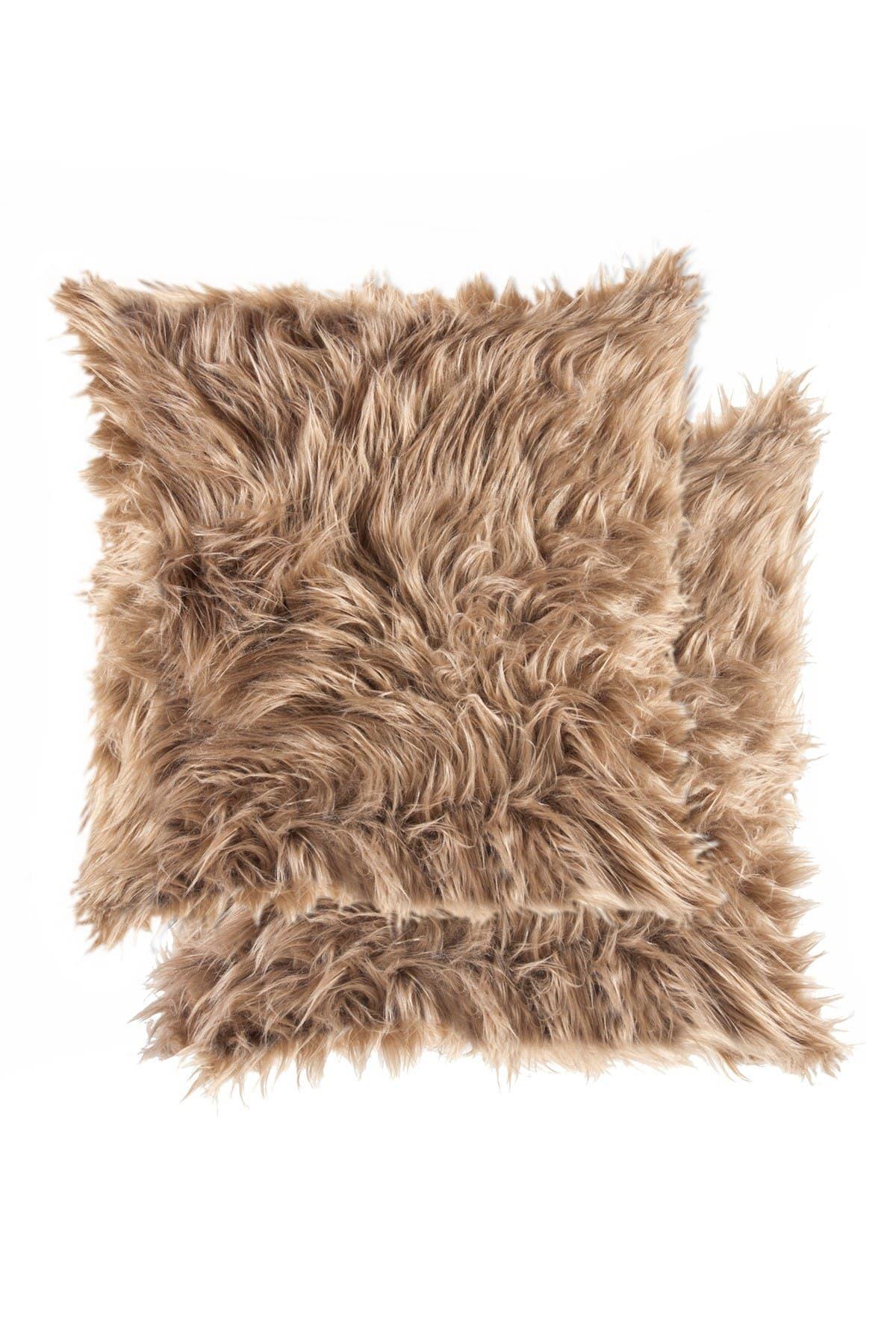 "Image of LUXE Belton Faux Fur Pillow - Set of 2 -18"" x 18"" - Tan"