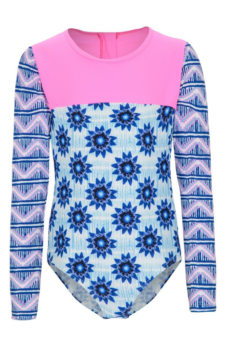 PLATYPUS AUSTRALIA One-Piece Rashguard Swimsuit, Main, color, INKY BLOOM