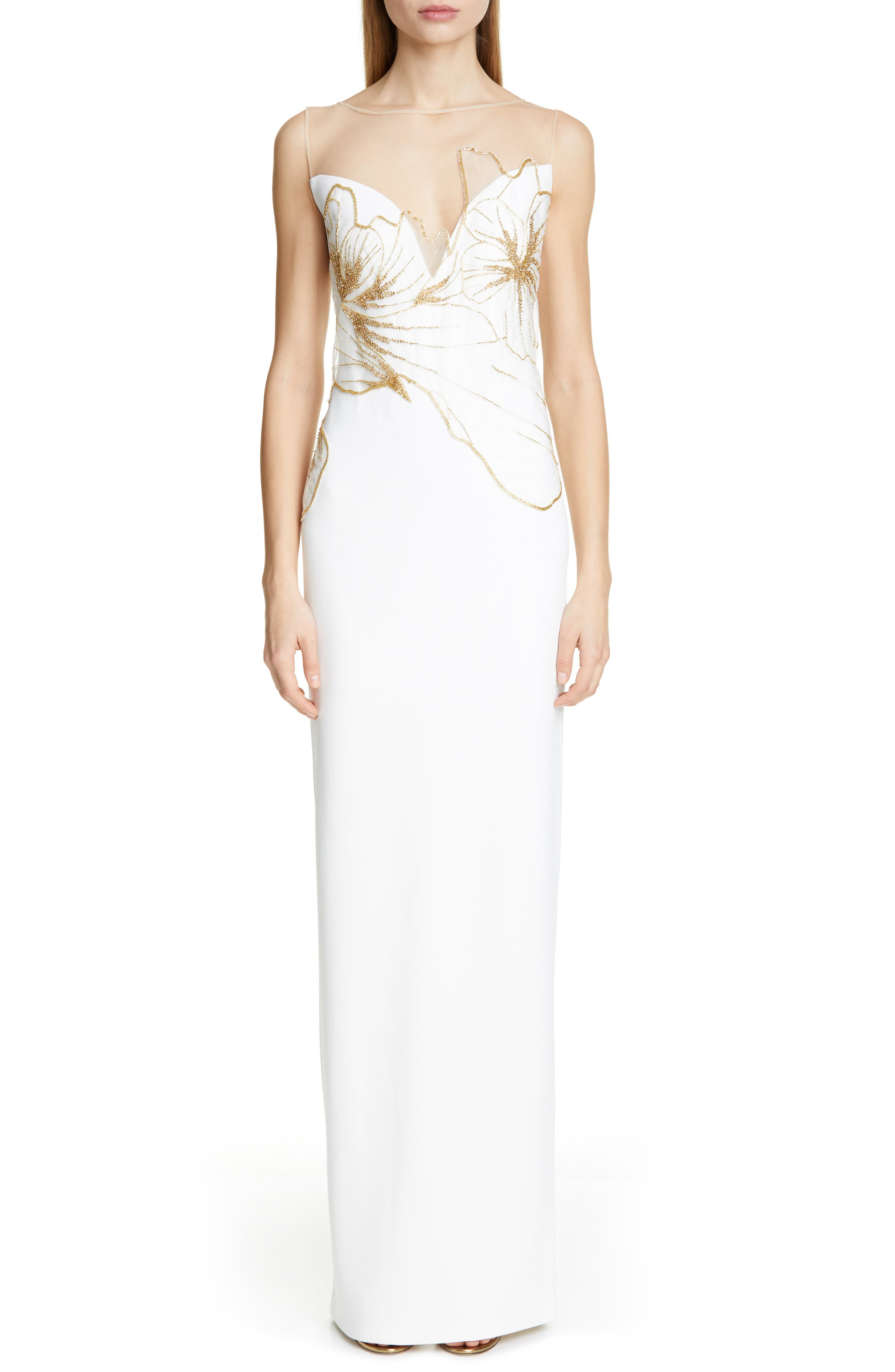 Pamella Roland Embellished Evening Gown, White